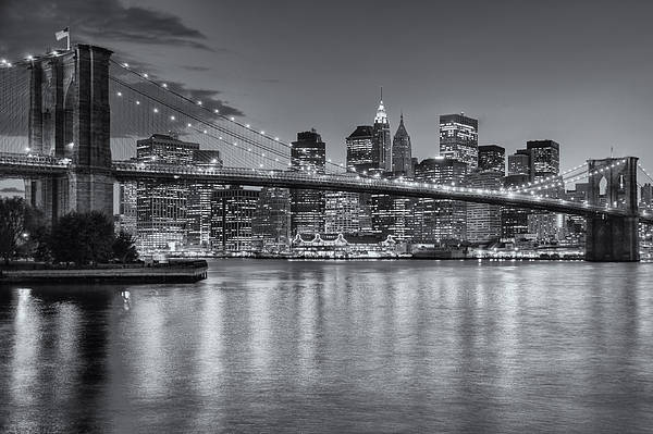 Clarence Holmes Art Print featuring the photograph Brooklyn Bridge Twilight II by Clarence Holmes
