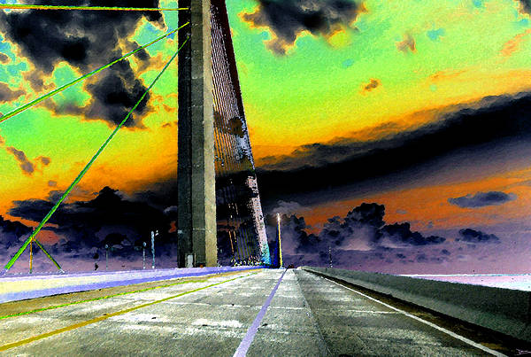 Art Art Print featuring the painting Dreaming Over The Skyway by David Lee Thompson