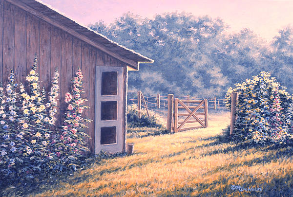 Flowers Art Print featuring the painting Holly Hocks by Richard De Wolfe