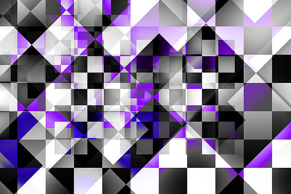 Abstract Art Print featuring the digital art Indigo Facets by Gae Helton