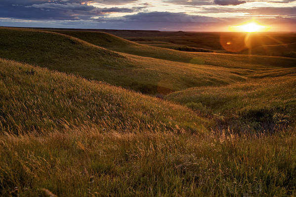 Outdoors Art Print featuring the photograph Sunset Over The Kansas Prairie by Jim Richardson