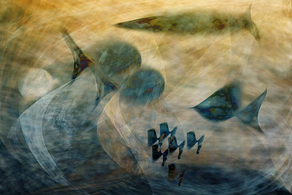Fish Art Print featuring the digital art Water World One by Gae Helton