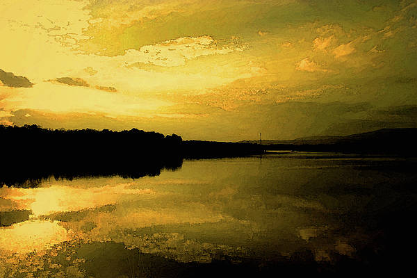 Water Art Print featuring the photograph Watery Color Sunset by Nina Fosdick