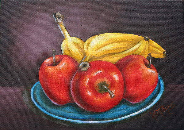 Banana Art Print featuring the painting Platter Of Fruit by Ruth Bares