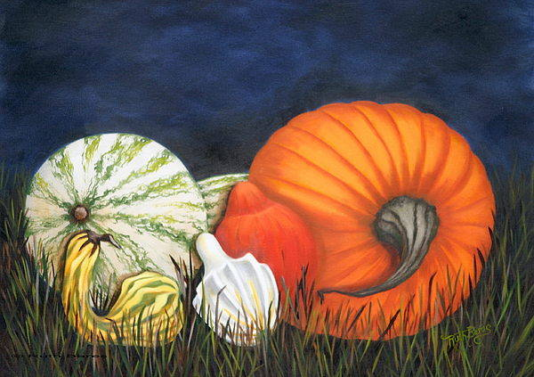Pumpkin Art Print featuring the painting Pumpkin And Gourds by Ruth Bares