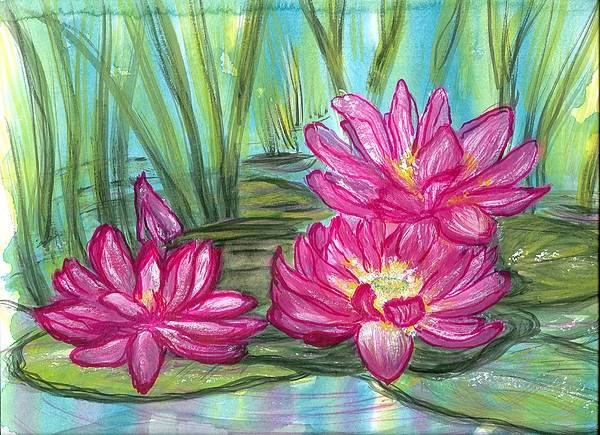 Pondscape Art Print featuring the painting Summer Pond After A Rain by Laura Johnson