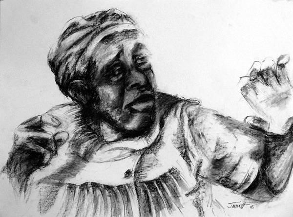 Portrait Art Print featuring the drawing Nightmare by Jackie Merritt