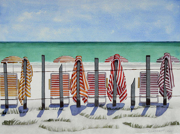 Beach Art Print featuring the painting Preparing For A Day At The Beach by Cory Clifford
