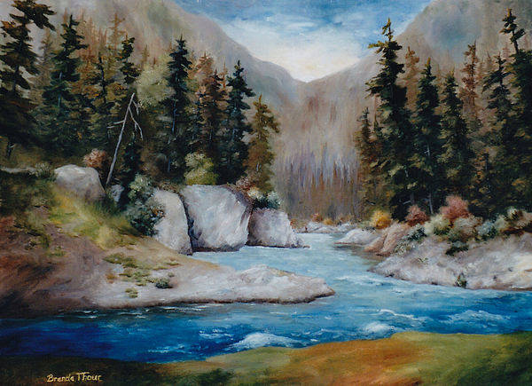 Landscape Art Print featuring the painting Rushing Waters by Brenda Thour
