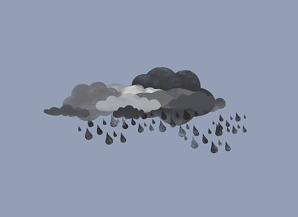 Horizontal Art Print featuring the digital art Storm Clouds And Rain by Jutta Kuss