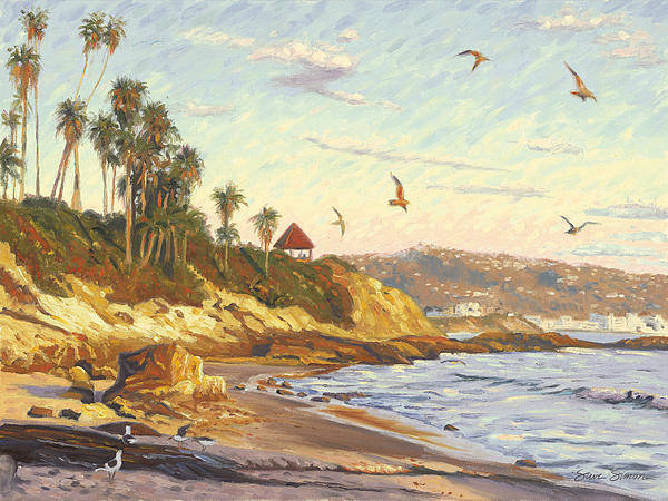 Twilight Art Print featuring the painting Heisler Park Rockpile At Twilight by Steve Simon