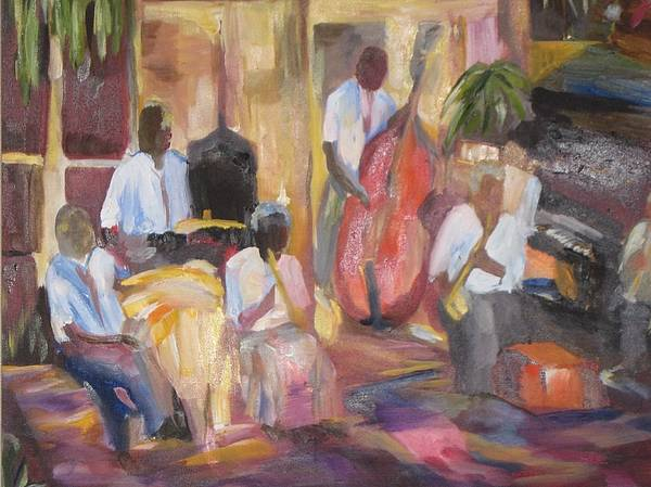 Muysic Art Print featuring the painting Jazzin by Impressionist FineArtist Tucker Demps Collection