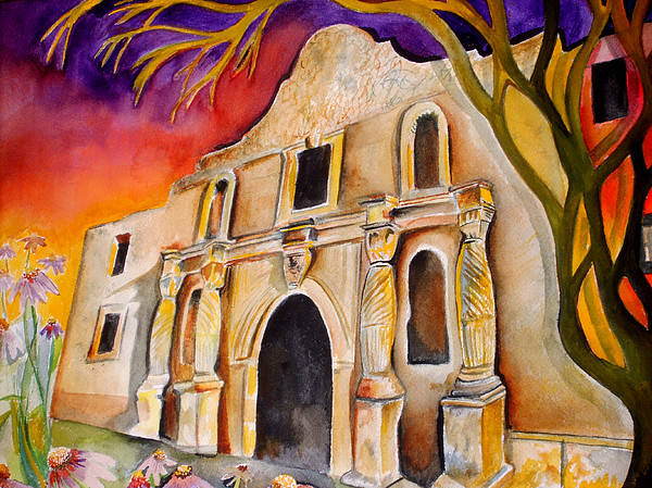 Alamo Art Print featuring the painting The Alamo by Susan Wester Perez