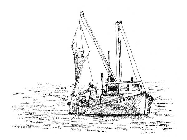 Fisherman Art Print featuring the drawing The Vessel Little Jim by Dominic White