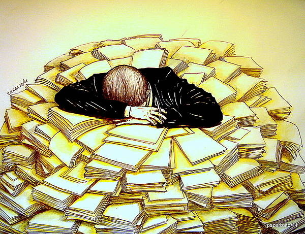 Exhaustive Bureaucracy Art Print featuring the digital art Exhaustive Bureaucracy by Paulo Zerbato