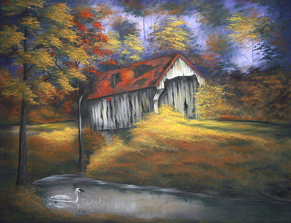 Old Barns Art Print featuring the painting Lone Trumpeter by Ruth Bares