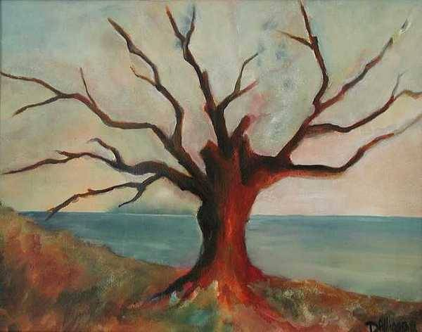 Oak Tree Inspired By Katrina Damage Along The Coast Art Print featuring the painting Lone Oak - Gulf Coast by Deborah Allison