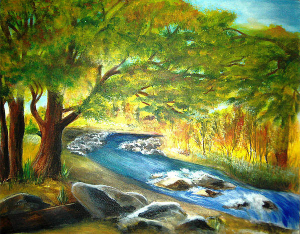 Landscape Art Print featuring the painting Running Waters by Vivian Mosley