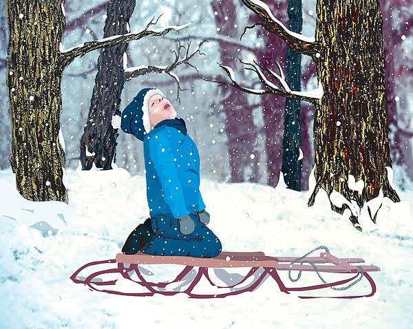 Boy Art Print featuring the digital art Snow Trance by Terry Cork
