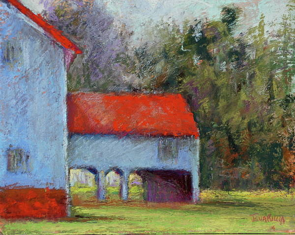 Barn Structures In State Park Art Print featuring the pastel Vanderbilt Park by Joyce A Guariglia