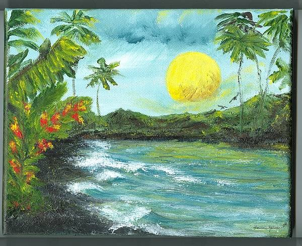 Beachscape Art Print featuring the painting Kona Sunrise by Laura Johnson