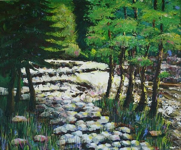 Waterfall Art Print featuring the painting Sunlit Waterfall by Art Nomad Sandra Hansen