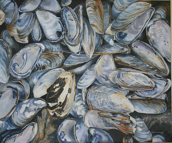 Sea Shells Art Print featuring the painting True Fundy Blues by Helen Shideler