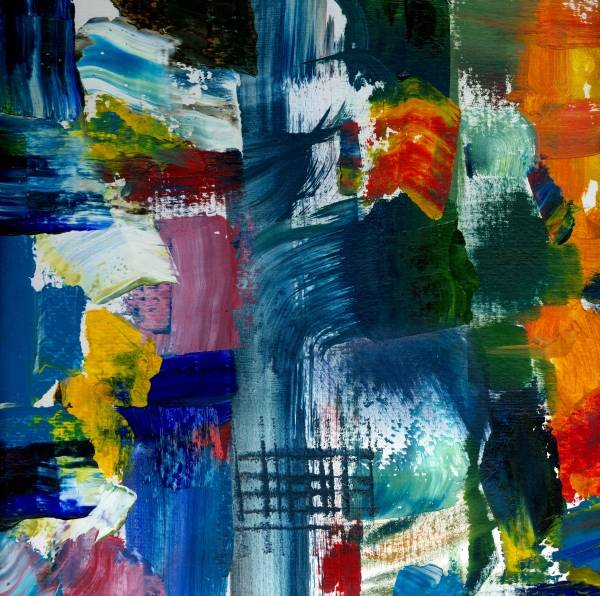 Abstract Collage Art Print featuring the painting Abstract Color Relationships L by Michelle Calkins
