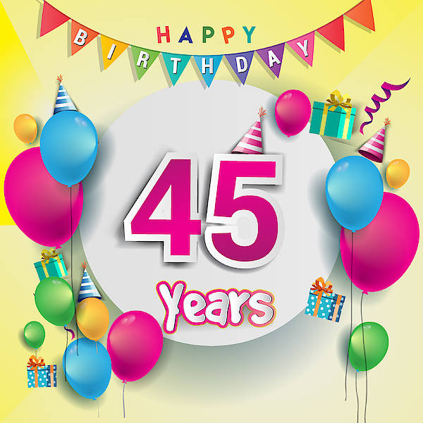 Event Art Print Featuring The Drawing 45th Years Anniversary Celebration Birthday Card Or Greeting