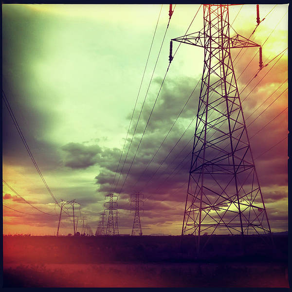Square Art Print featuring the photograph Electricity Pylons by Mardis Coers