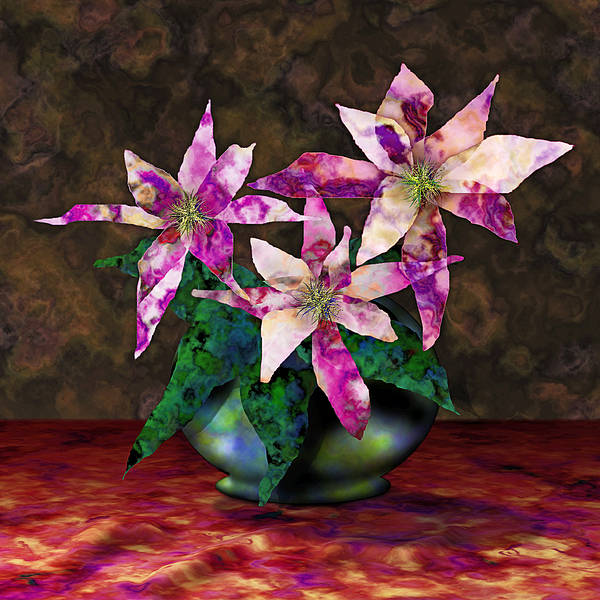 Floral Art Print featuring the digital art Poinsettia Still Life by Gae Helton