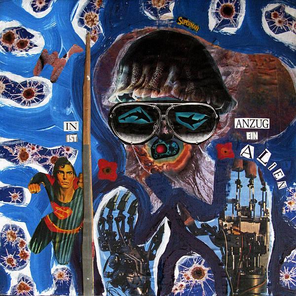 Kamelogana Art Print featuring the mixed media Superman In Anzug Ist Ein Alien by Christoph Fuhrken