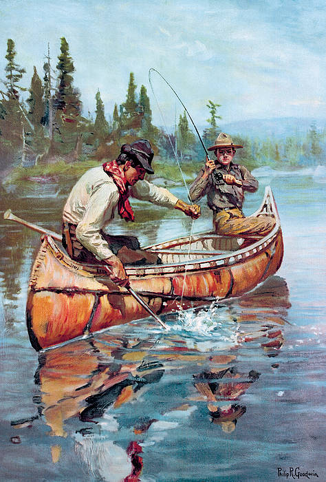 Fishing Art Print featuring the painting Two Fishermen In Canoe by Phillip R Goodwin