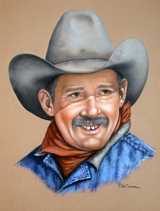 People Art Print featuring the painting Happy Cowboy by Deb Owens-Lowe