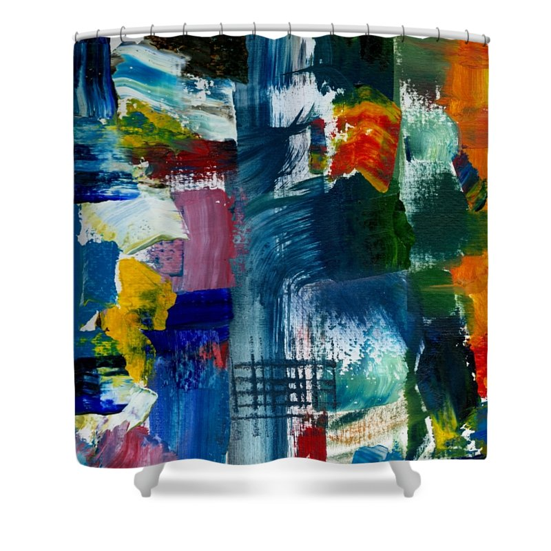 Abstract Collage Shower Curtain featuring the painting Abstract Color Relationships L by Michelle Calkins