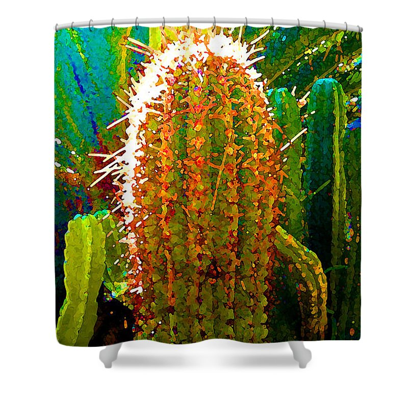 Succulent Shower Curtain featuring the painting Backlit Cactus by Amy Vangsgard