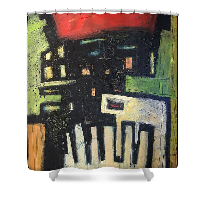 Abstract Shower Curtain featuring the painting D Flat by Tim Nyberg