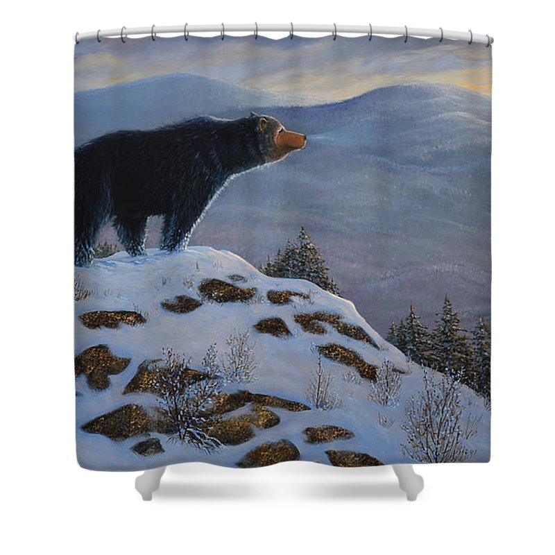 Wildlife Shower Curtain featuring the painting Last Look Black Bear by Frank Wilson