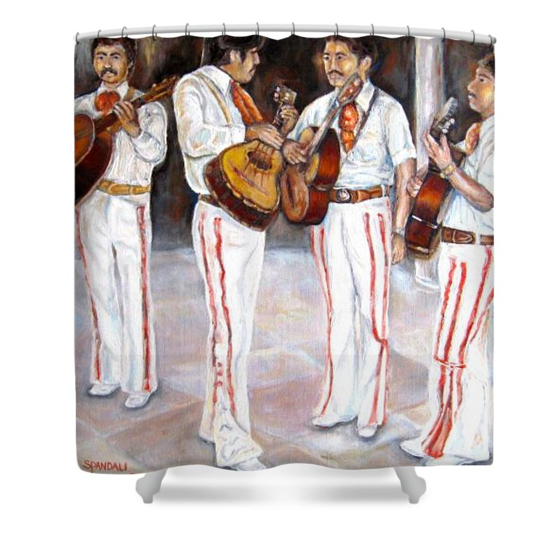 Mariachis Shower Curtain featuring the painting Mariachi Musicians by Carole Spandau