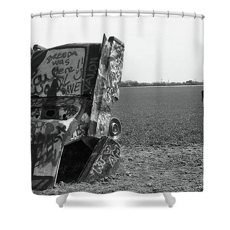 66 Shower Curtain featuring the photograph Route 66 - Cadillac Ranch by Frank Romeo
