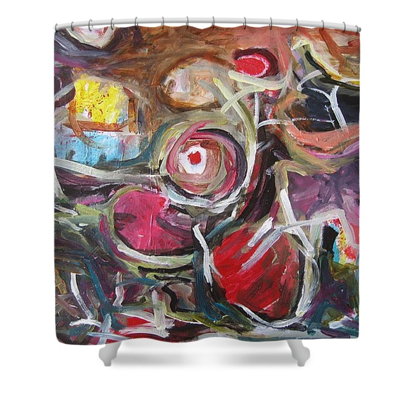 Abstract Paintings Shower Curtain featuring the painting Abandoned Ideas3 by Seon-Jeong Kim