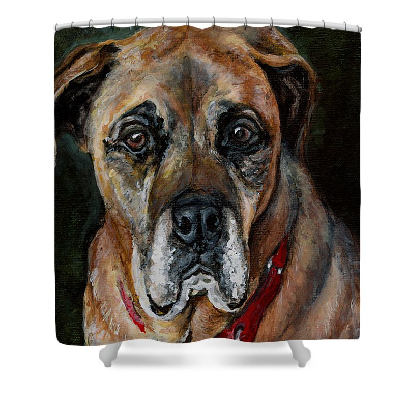Boxer Shower Curtain featuring the painting Boo For Dogtown by Mary-Lee Sanders