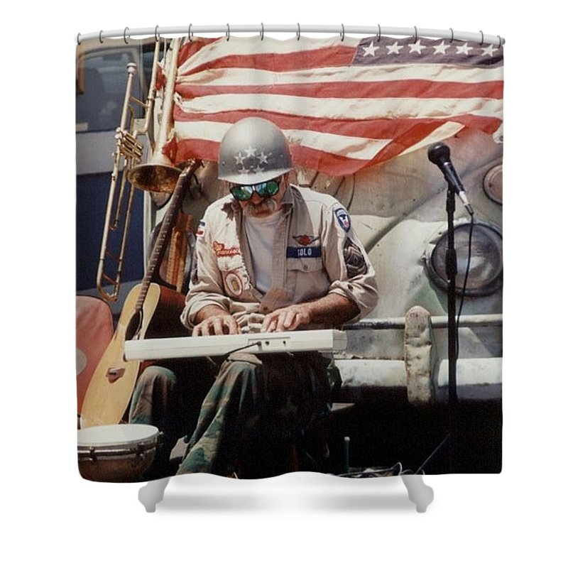 Charity Shower Curtain featuring the photograph Born In The Usa by Mary-Lee Sanders