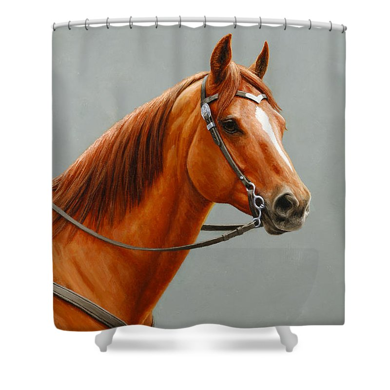 Horse Shower Curtain featuring the painting Chestnut Dun Horse Painting by Crista Forest