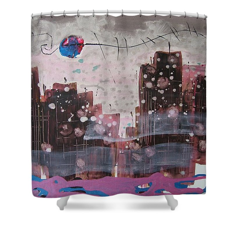 Brown Paintings Shower Curtain featuring the painting Cityscape by Seon-Jeong Kim