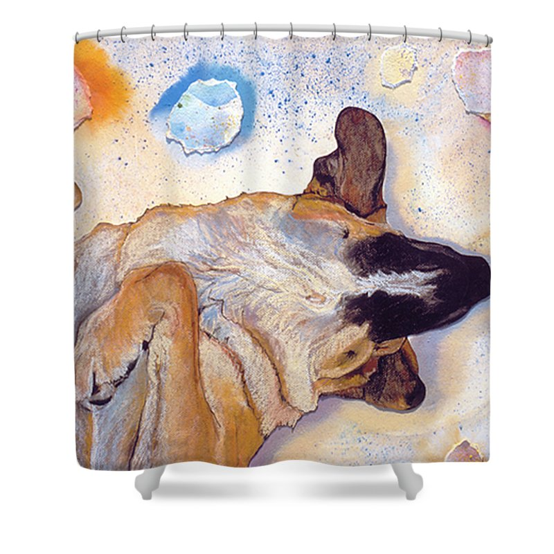 Sleeping Dog Shower Curtain featuring the painting Dog Dreams by Pat Saunders-White