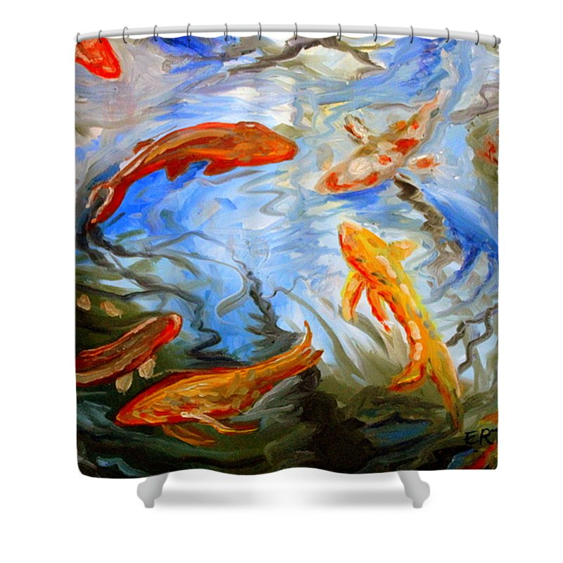 Oil Shower Curtain featuring the painting Fish Reflections by Elizabeth Robinette Tyndall