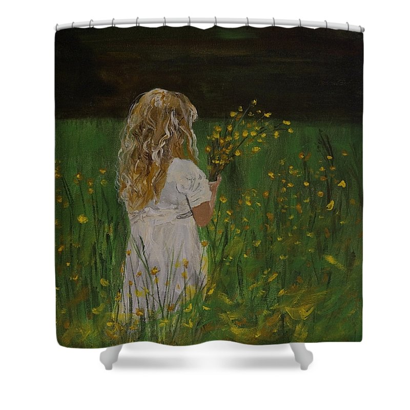 Little Girl Picking Flowers Shower Curtain featuring the painting Flowers For You by Leslie Allen