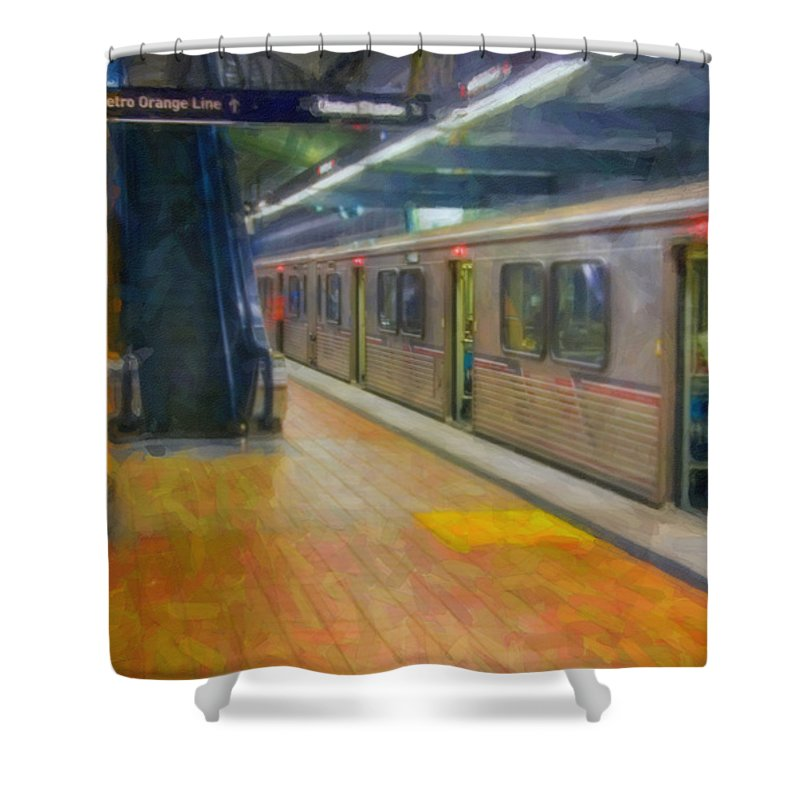 Metro Red Line - Hollywood - Vine Subway Station - Los Angeles Shower Curtain featuring the photograph Hollywood Subway Station by David Zanzinger