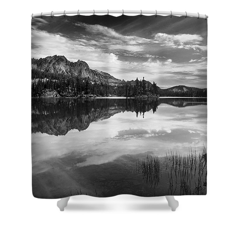 Black And White Shower Curtain featuring the photograph Imogene Lake by Leland D Howard